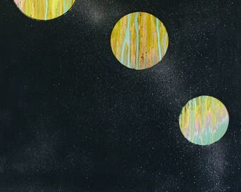 The Places We Keep 30x40 Space Planetary Inspired Glittery Star Large Painting