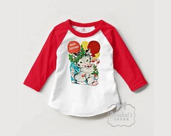 Kitty Christmas Shirt - Christmas Gift Kids - Christmas Cat Kitten Shirt - Toddler Christmas Shirt - Retro Christmas - Red White Baseball