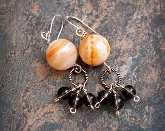 Sterling silver and gemstones. Agate and Smoky Quartz. Sterling earrings. Simple earrings. SALE. CLEARANCE.