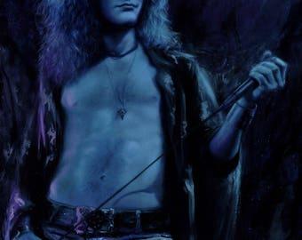"ORIGINAL Robert Plant painting, 18x24"", oil on canvas, Led Zeppelin"