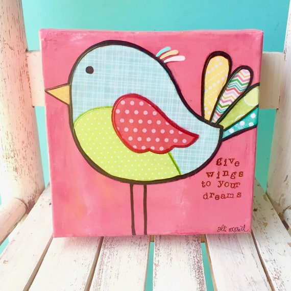 Mixed Media Bird Art • Whimsical Folk Art • Colorful painting • Original Art on canvas • Dream Big • Follow your dreams • never stop flying