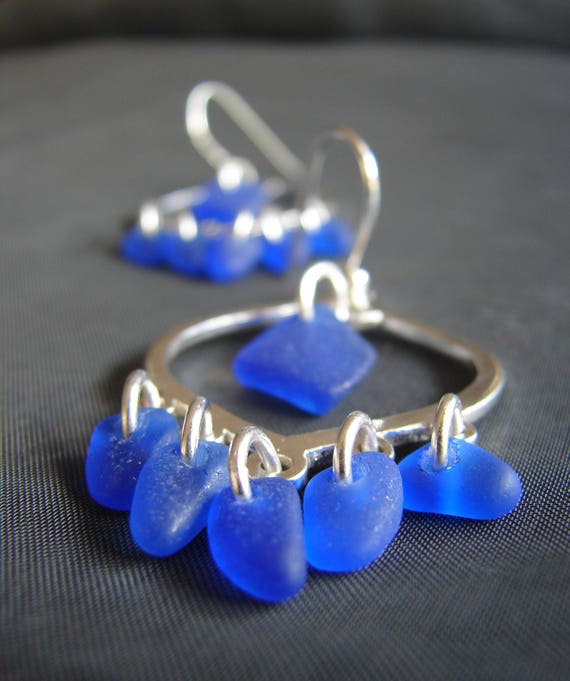 Diviner sea glass earrings in cobalt blue