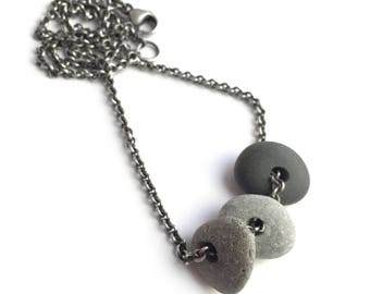 Sterling Silver Natural Lake Erie Beach Stone Trio Necklace 20 Inch Cable Chain