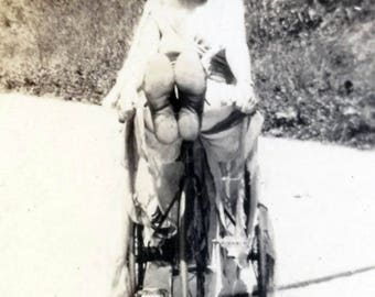 vintage photo 1920 Feet First Flapper Teen Woman Riding her Tricycle Like a Child