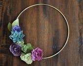 "Felt Succulent Wreath - 12"" Purple and Green - Spring Wreath - Spring Decor - Entryway Decor - Housewarming Gift - Felt Flower Wreath"