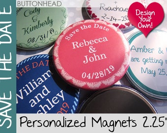 100 Save the Date Magnets - Save the Date Button Magnets
