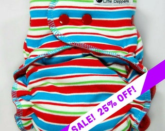SALE! Cloth Diaper or Cover Made to Order - Circus Stripes - You Pick Size and Style - Custom Nappy or Wrap - Red Turquoise Lime Striped