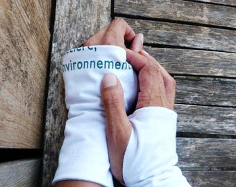 Fingerless mittens made from recycled cotton jersey (tee-shirt material) #80