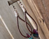 Leather Earrings - Leather Hoop Earrings - Leather Teardrop Earrings - Bohemian Earrings - Leather Drop Earrings - Leather Boho Earrings