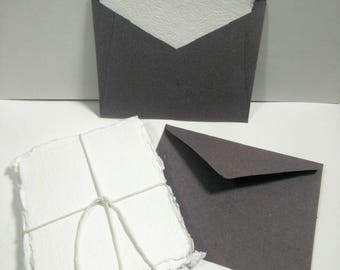 Sets of 4 x 5 inch Handmade deckled edge cotton rag notecards with or without a handmade envelope