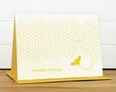 HONEY Personalized Stationery Set - Personalized Stationary Set - Custom Personalized Notecard Set - Bee Honeycomb Yellow