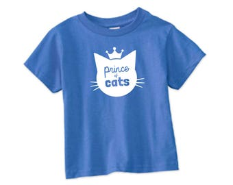 Prince of Cats TShirt in Iris Blue - Toddler Tee -  Cat Lover, Cat People, Expecting, Matching, Boy, Meow, Kitty