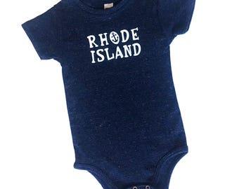 Rhode Island Triblend Navy Blue One Piece Romper Bodysuit - Little Rhody, RI Pride, State, Anchor, Nautical, New Baby, Baby Shower