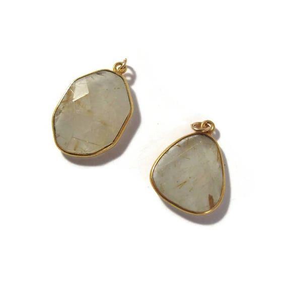 One Gemstone Charm, Gold Rutile Quartz Pendant, Natural Gemstone, Jewelry Supplies (C-Qu4a)
