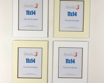 SALE! Lot of 4 Photo Mats - Readymade 11x14 Frame Size for 8x10 photos