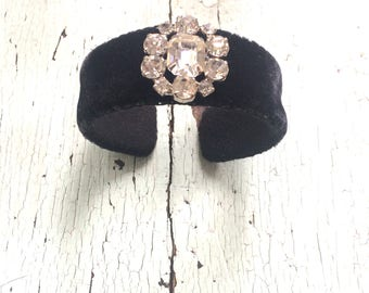 Silk Velvet Adjustable Cuff with Rhinestones