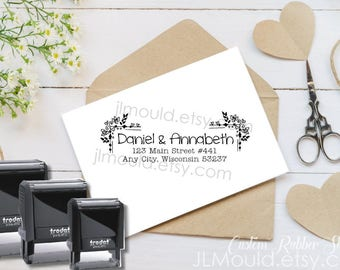 0236 Self Inking JLMould Modern Family Custom Personalized Rubber Stamp Return Address Wedding Stamper Choose Ink Color