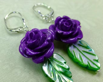 Rose Lover Earrings Deep Purple Resin Rose Beads with Green Leaf Shell Beads Dangle Lever Back Ear Wires