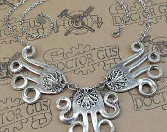 The Flying Squid - Steampunk Necklace Handmade From Pewter Forks - A Doctor Gus silverware Creation - Free Shipping