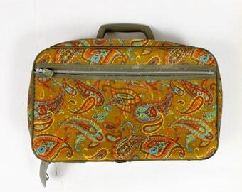 1970's Rust Orange Paisley Mini Suitcase with Avocado Green Handle 70s 1960s 60s Orange Yellow Bright Neon Micro Luggage Children Kids