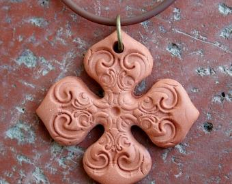 Terracotta Cross Pendant 2, aromatherapy, rustic, focal pendant