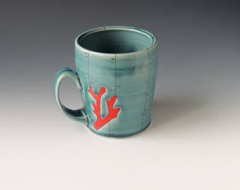 Ceramic Red Coral Mug - turquoise porcelain clay cup with coral branch and decals - wheel thrown handmade pottery