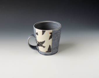 Purple Starling Mug - ceramic porcelain clay coffee cup with stencil birds and mishima bird - wheel thrown handmade pottery