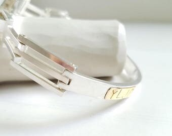 Personalized Sterling Silver 925 and 14 K Gold Bracelet