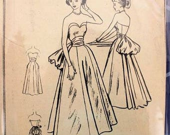 Vintage 1950s Strapless Evening Gown Pattern-  Bustled Back-  McCall's 9147