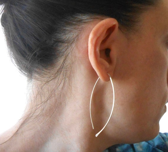 Long Sterling Silver Open Hoop Minimalist Earrings