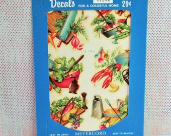 Vintage Meyercord Decal - Vegetables and Lobster- NOS