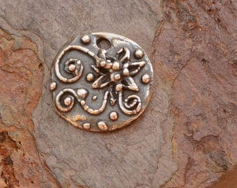 Artisan Bohemian Vines and Flower Charm in Sterling Silver, CH-638
