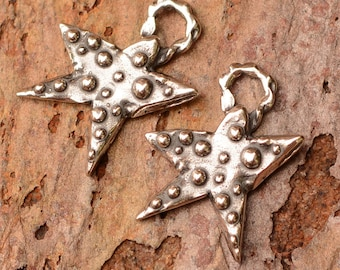 Two Small Dotted Star Charms in Sterling Silver, CH-678, S/2