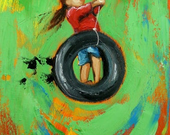 Swing painting 179 12x24 inch portrait original oil painting by Roz