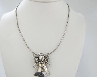 Sterling Silver Chain Necklace with Sterling Angel with Halo Pendant - Brooch    1812D