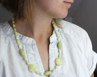 Jade Bead Long Necklace . Healing Gemstone Necklace . Protection Necklace . Yellow Jade Necklace Beaded - Mirabelle Collection