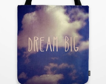 inspiring quote and blue sky nature photo fabric tote bag- market tote-carry all school tote-typography and words-gift idea for the holidays