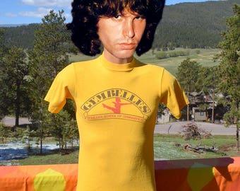 vintage 70s t-shirt BOULDER GYMNASTICS gymbelles colorado gym school tee Small XS