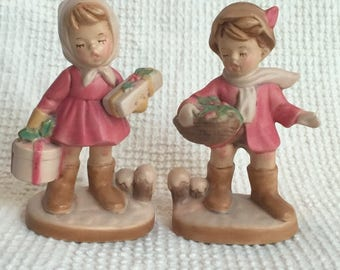 Vintage Christmas Boy and Girl Set of 2 Ceramic Figurines - Beautiful Antiqued Pink and Ivory Colors
