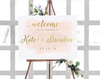 Wedding Welcome Sign, Gold Foil Sign, Printable Wedding Sign, Ceremony Wedding Sign, Welcome Wedding Sign, 18x24 Sign, Blush & Gold Wedding