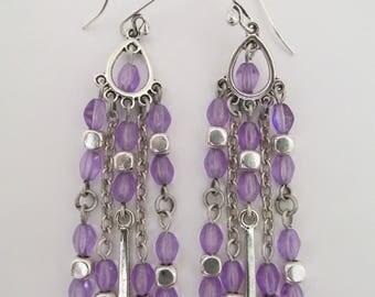 Chandelier Boho Charm Earrings - Purple