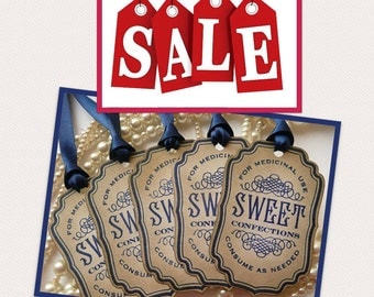 Sweet Tags - Vintage Inspired with Navy Satin Ribbon - Jam Jar Decorations, Wedding Favor Tags, Gifts, Party Tags SET of 5 - CODE S6