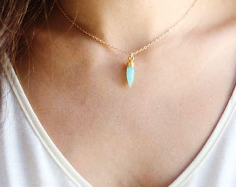 Gold Dipped Amazonite Point Stone Choker Necklace | 14k Gold Filled Chain