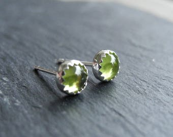 Peridot Earring Studs Sterling Silver, August Birthstone, Peridot Green Earrings, Birthstone Jewelry, Gemstone Earrings, Hypoallergenic