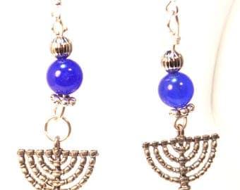Chanukah earrings - Hanukkah Menorah Earrings- Festival of Lights Menorah Charm Earrings