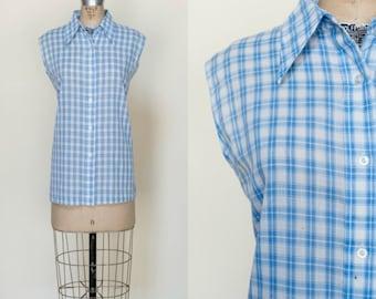 1970s Blue Plaid Button Up Top --- Vintage Womens Western Blouse