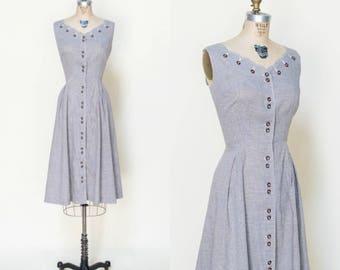 1940s Gingham Dress --- Vintage Brown Day Dress