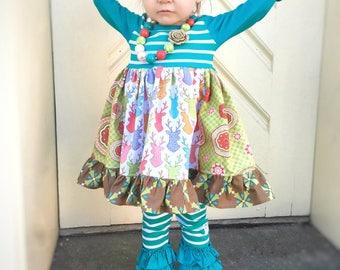 Deer Reindeer dress, Fall Christmas dress, Thanksgiving dress, Winter dress girls toddler fall winter girls dress