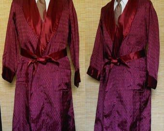 ON SALE Vintage 40s Smoking Robe, 1940s Art Deco Burgundy Textured Rayon Brocade Jacquard Wrap Robe with Original Belt, Size L Large