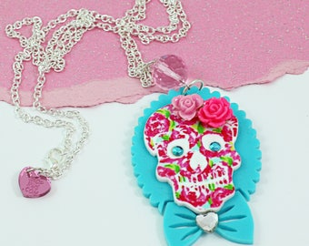 Girly Floral Sugar Skull- TURQUOISE BOW CAMEO -Pink Roses- Laser Cut Acrylic